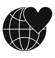 Earth world globe with heart icon simple style vector image vector image