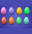 easter eggs collection on a white vector image vector image