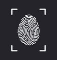editable line fingerprint scan icon vector image