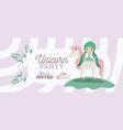 fairy with unicorn invitation card vector image vector image