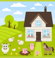 farm with different animals vector image