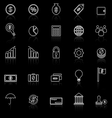 Finance line icons with reflect on black vector image vector image