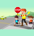 flagger and kids crossing the street vector image vector image