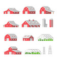 flat design barns farm isolated vector image vector image