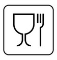 food grade icon pictograph plastic contact fork vector image vector image