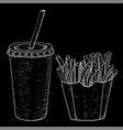 french fries and cola drink hand drawn sketch on vector image vector image
