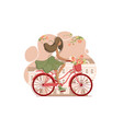 girl on vintage bicycle with flowers vector image