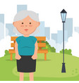 grandmother on park character vector image vector image