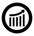 growing graph black icon in circle isolated vector image vector image