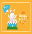 happy easter rabbit inside broken egg card vector image vector image