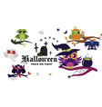 happy halloween flat set vector image vector image