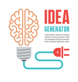 Human brain in light bulb vector image vector image