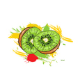 kiwi with colorful splashes vector image vector image