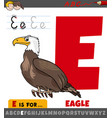 letter e worksheet with cartoon eagle bird vector image vector image