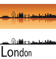 London skyline in orange background vector image vector image