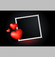 lovely red hearts photo frame banner design vector image vector image