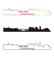 Luxembourg skyline linear style with rainbow