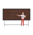 male math teacher professor teaching students vector image