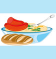 mashed potatoes with sausage in plate and bread vector image vector image