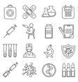 Medical vaccinations outline linear icons vector image vector image