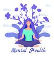 mental health yoga meditation woman sit vector image vector image