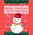 merry christmas and happy new year ribbin snowman vector image vector image