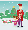 merry christmas father and daughter warm clothes vector image
