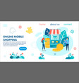 online mobile shopping banner vector image vector image
