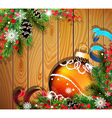 Orange Christmas ball on wooden background vector image vector image