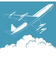Passenger airplane in the clouds retro background vector image vector image