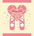 Pink ballet pointe shoes diamond shape heart vector image
