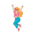 plump obese woman dancing in sunglasses vector image vector image