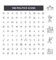 politics editable line icons 100 set vector image vector image