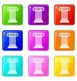roman column icons 9 set vector image vector image
