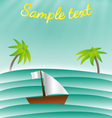sea with palms and boat card template vector image
