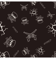 Seamless texture of sketches of skulls and pistols vector image vector image