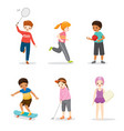 set happy children playing and exercising vector image