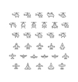 Set line icons of helicopters and planes vector image vector image