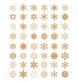 set of different golden snowflakes vector image vector image