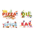 set posters with tiny people eating pizza vector image