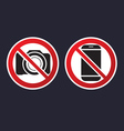 sign prohibited device camera mobile phone vector image
