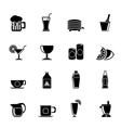 Silhouette beverages and drink icons vector image vector image