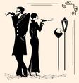 smoking man and woman vector image vector image