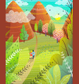 summer hills and mountains nature card vector image