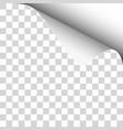 upper right curl corner transparent sheet vector image vector image