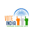 vote india general election with finger hand vector image vector image