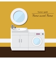 Washing and sink 3d interior Yellow background vector image
