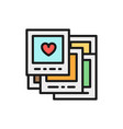 wedding photos love flat color line icon vector image vector image