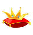 golden crown on the red pillow vector image