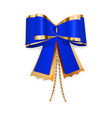 Blue and gold bow vector image